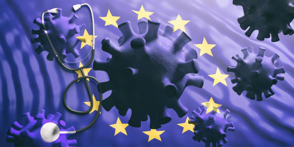 Drapeau Européen drapé de virus