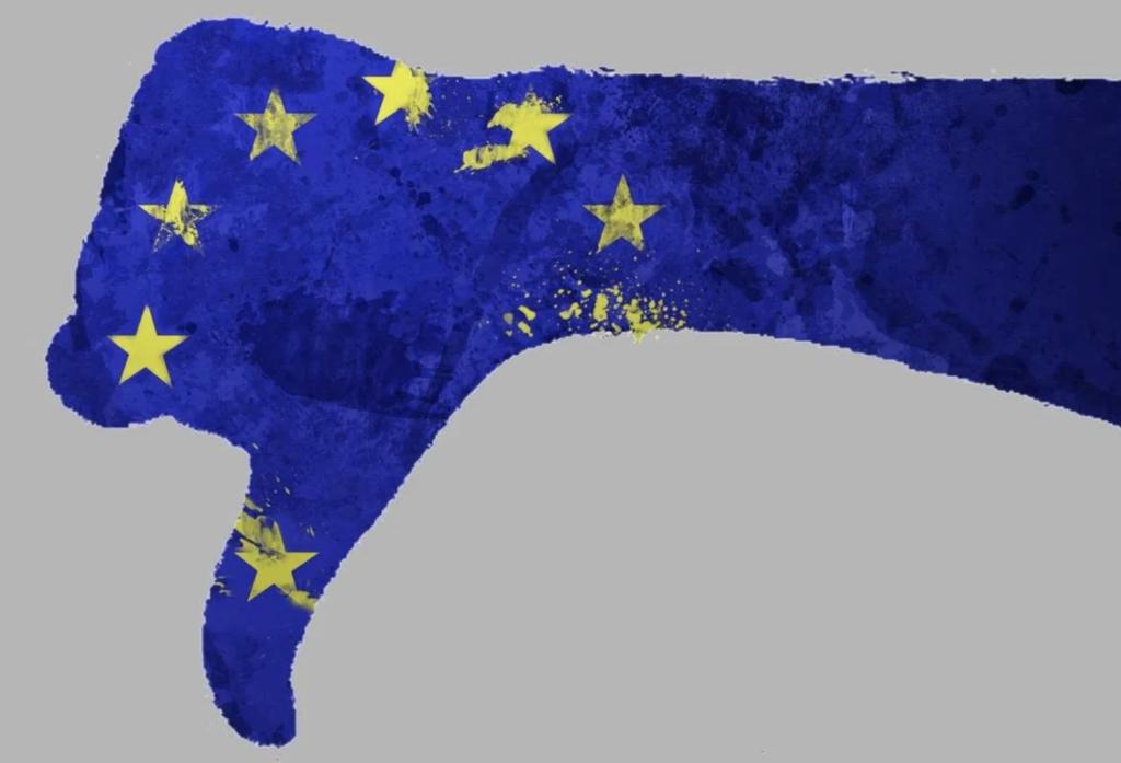 Dessin d'une main aux couleurs de l'Europe faisant un pouce en bas