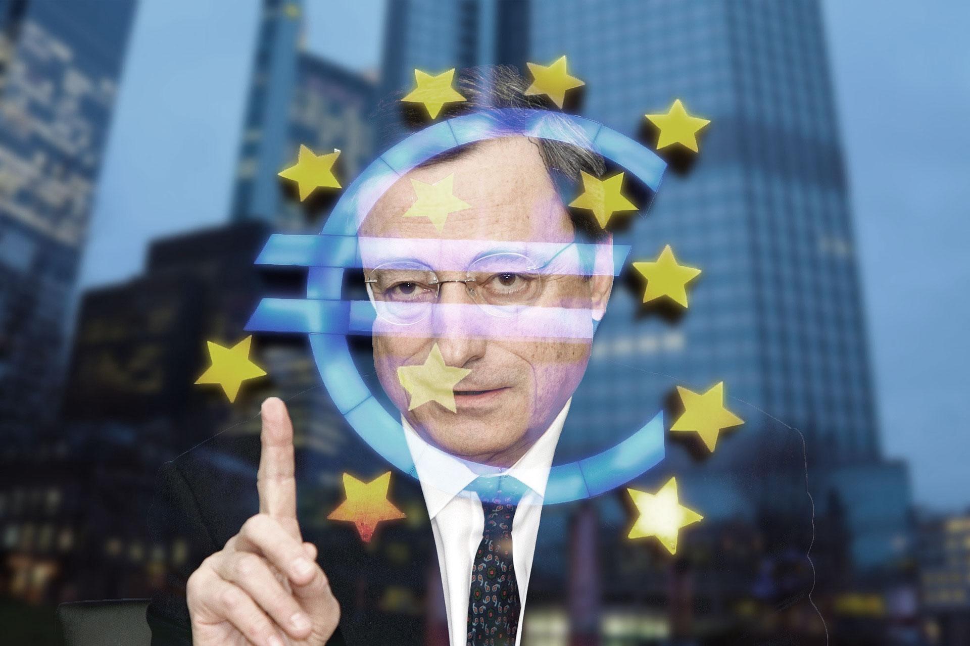 Mario Draghi, 1er ministre Italien, couvert d'un symbole euro