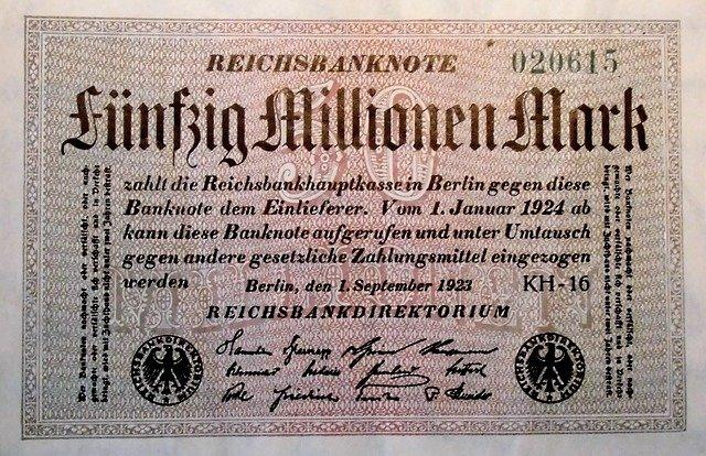 Billet de 50 millions de Marks Allemands.