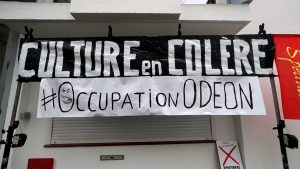 "Banderole ""Culture en colère, #OccupationOdeon"